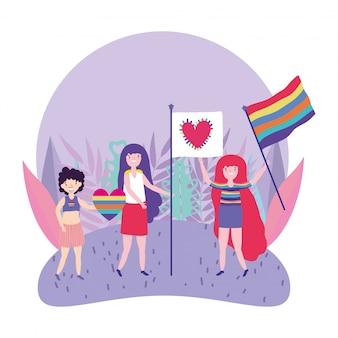Pride parade lgbt community, mensen met vlaggen gelijkheid en bescherming van homoliefde