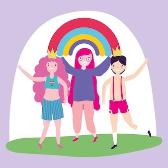 Pride parade lgbt community, mensen vieren ontmoeting met regenboog