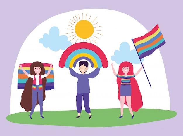 Pride parade lgbt gemeenschap, jonge man en vrouw met regenboog en vlaggen