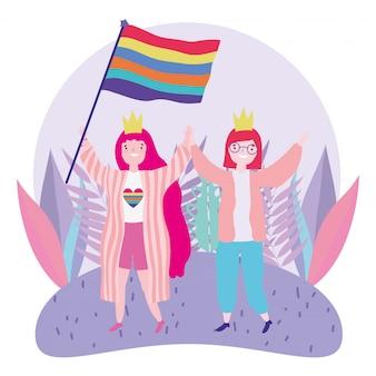 Pride parade lgbt-gemeenschap, viert twee vrouwen met kroon en vlagregenboog