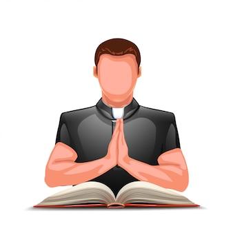 Priester bidden met boek