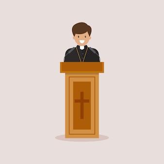 Priester houdt toespraak van tribune