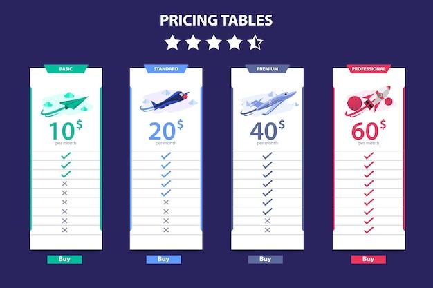Prijs tabel 4 verschillende vliegtuig vector sjabloon dark