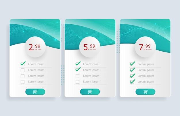 Prijs tabel sjabloon achtergrond afbeelding