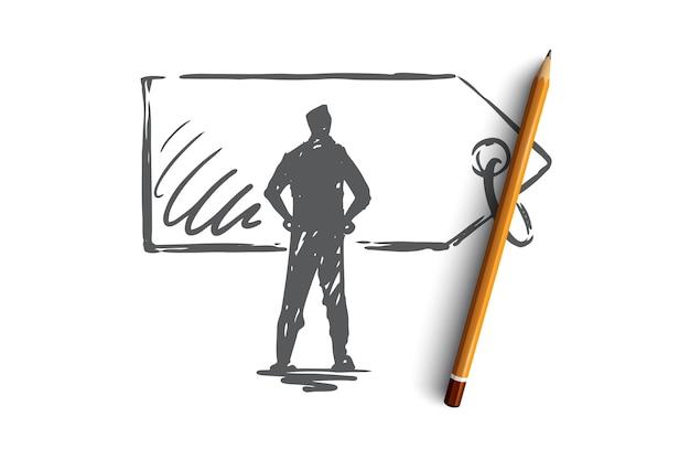 Prijs, verkoop, label, korting, labelconcept. hand getekende man en prijs label concept schets.