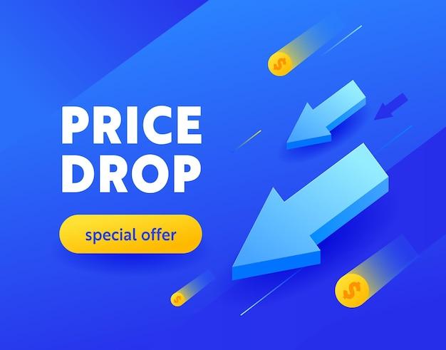 Prijsdaling speciale aanbieding reclamebanner met typografie op blauwe achtergrond, advertentiekaart voor winkelkorting, sociale media-promo-inhoudadvertentie, winkel uit-poster, flyer of voucher