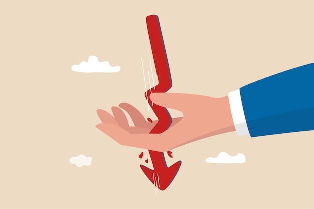 Prijsdaling van aandelen of cryptovaluta oorzaak van instortende marktcrash doorbraak door bloedige hand van belegger of handelaar.
