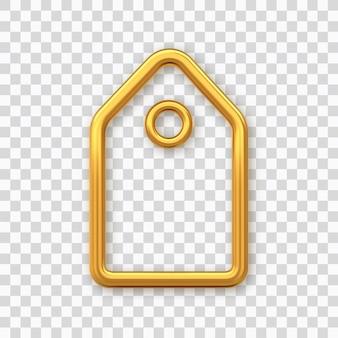 Prijskaartje. gouden glanzende lege tag. korting label geïsoleerd op transparante achtergrond. labelpictogram voor websites en apps. realistische 3d-vectorillustratie.