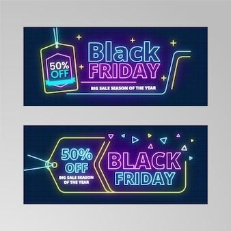 Prijskaartje neonlichten voor zwarte vrijdag banner