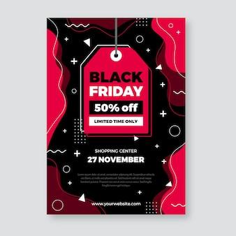 Prijskaartje zwarte vrijdag platte ontwerpsjabloon folder