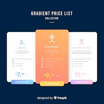 Prijslijst verzameling