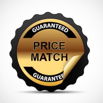 Prijsmatch garantie gouden teken labelsjabloon