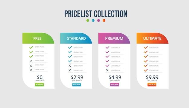 Prijsplan banners infographic sjabloon