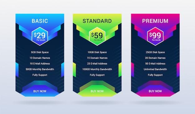 Prijsplan tafelontwerp ui en infographic sjabloon premium