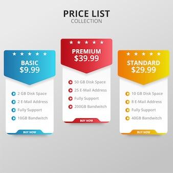 Prijsplannen en tabellen voor web en applicaties