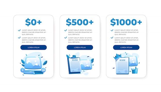 Prijsplattabel, vergelijkingstabellen met kosten