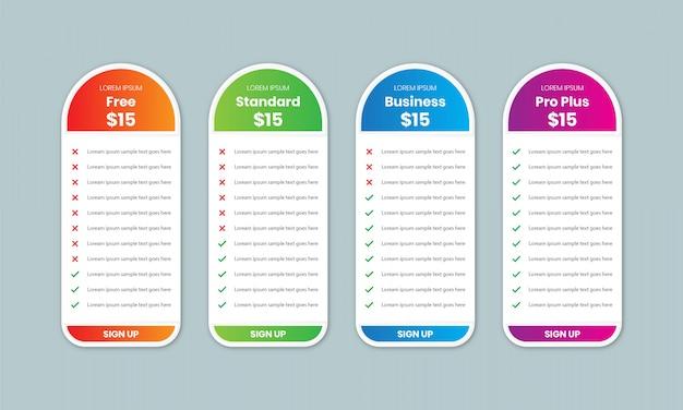 Prijstabel-vergelijkingssjabloon met 4 kolommen, prijstabelontwerp voor bedrijven, kleurenschema voor grafieken