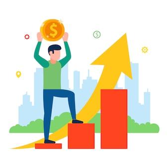 Prijsverhoging voor de consument. bevolking inkomen schema. illustratie.