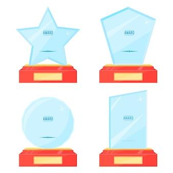 Prijzen voor trofee-plaquettes van glas