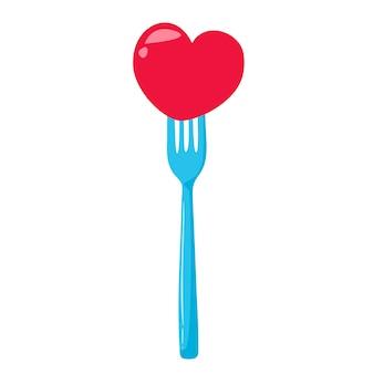 Prik het hart op de plug. het concept van liefdesverdriet. vectorillustratie in cartoon-stijl