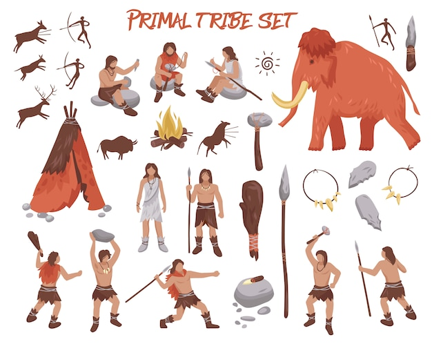 Primal tribe people icons set