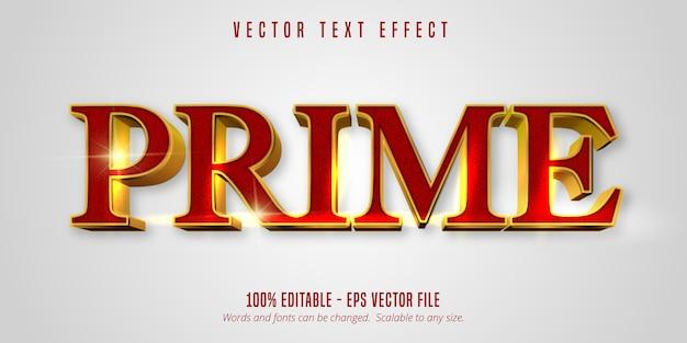 Prime-tekst, glanzend goudstijl bewerkbaar teksteffect