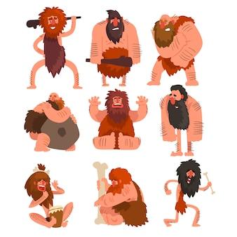Primitieve cavemen set, stenen tijdperk prehistorische man stripfiguur illustraties