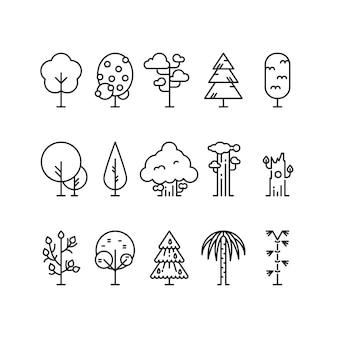 Primitieve eenvoudige contourlijnbomen.