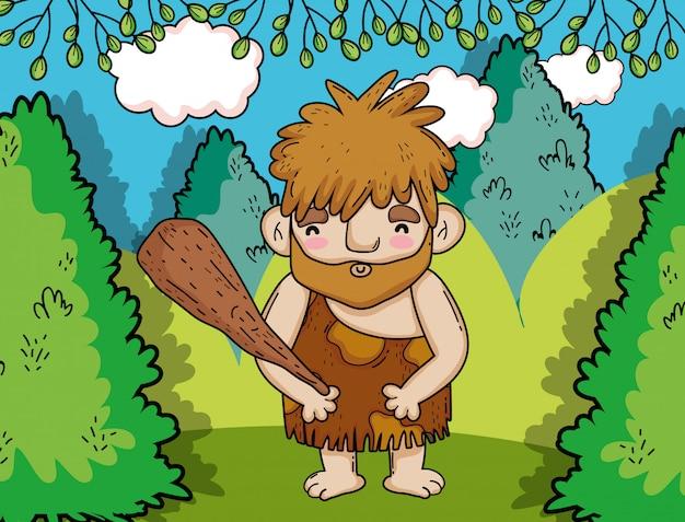 Primitieve mens die met houten hamer in de struiken jaagt