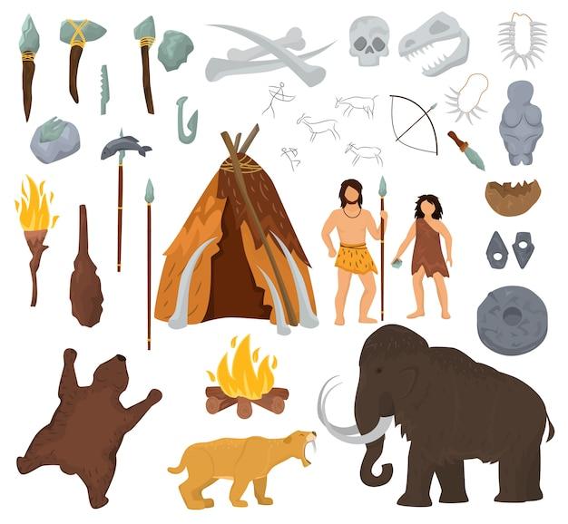 Primitieve mensen vector mammoet en oude holbewoner karakter in steentijd grot illustratie
