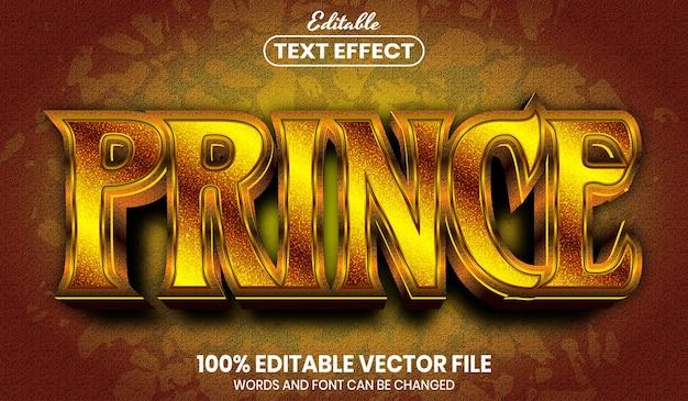 Prince-tekst, bewerkbaar teksteffect in gouden stijl