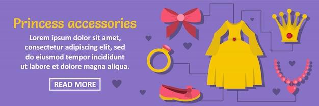 Princess accessoires banner sjabloon horizontale concept