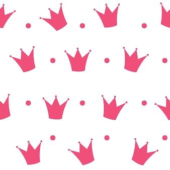 Princess crown naadloze patroon achtergrond vectorillustratie.