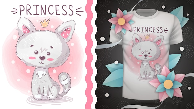 Princess kitty - idee voor print t-shirt