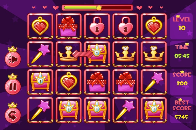 Princess meisjesachtige interface match3 games en knoppen, pictogrammen voor game-items