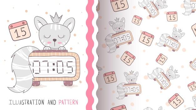 Princess time cat - naadloos patroon