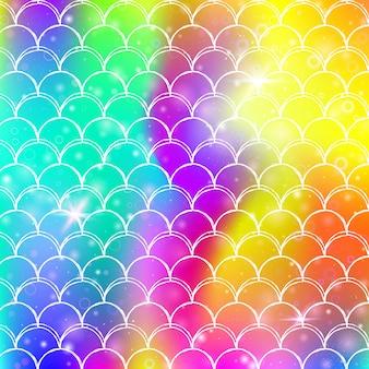 Princess zeemeermin achtergrond met kawaii regenboog schalen.