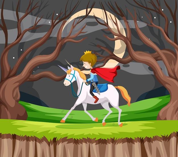 Prins berijdt een paard