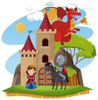 Prins en prinses bij het kasteel met draak