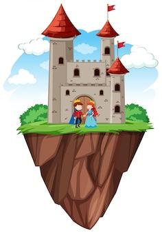 Prins en prinses bij kasteel