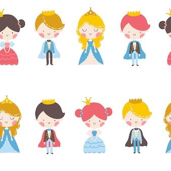 Prins en prinses naadloos patroon