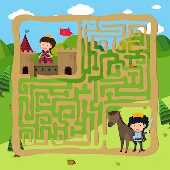 Prins en prinses puzzelen doolhofspel