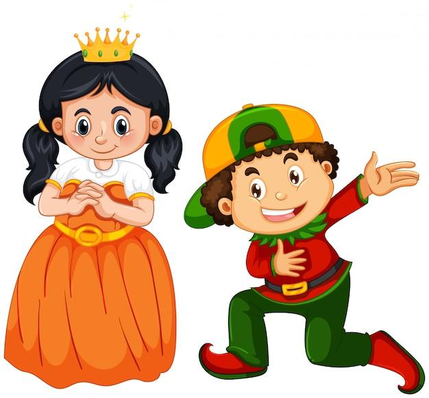 Prins en prinseskostuum op wit