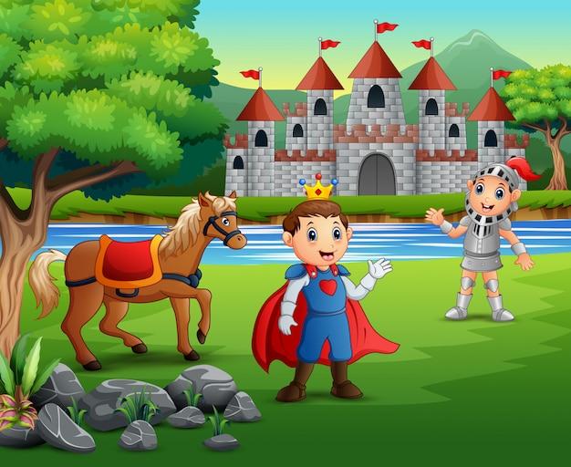Prins en ridder buiten met een kasteel