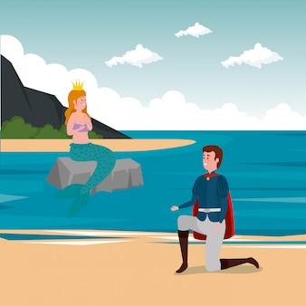 Prins met zeemeermin in scène-sprookje