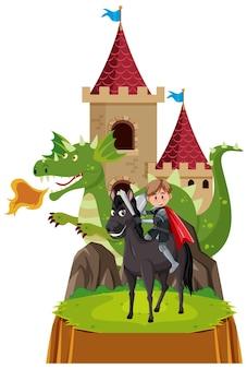 Prins rijdt paard bij kasteel