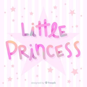 Prinses die gestreepte achtergrond van letters voorzien
