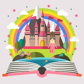Prinses en kasteel illustratie