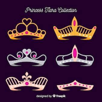 Prinses gouden en zilveren tiara pakket