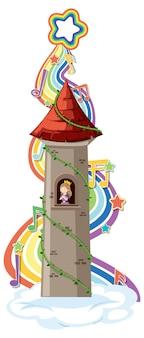 Prinses in toren met regenbooggolf op witte achtergrond
